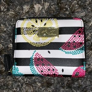 NWOT Betsey Johnson stripped zip around wallet